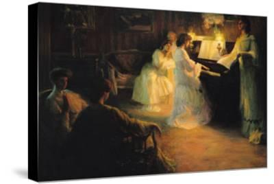 Young Girls at a Piano, 1906-Gabriel Deluc-Stretched Canvas Print