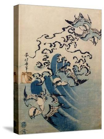 Waves and Birds, circa 1825-Katsushika Hokusai-Stretched Canvas Print