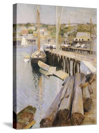 Fish Wharves, Gloucester, 1896-Willard Leroy Metcalf-Stretched Canvas Print