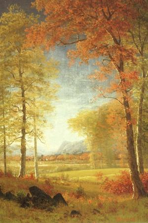 Autumn in America, Oneida County, New York-Albert Bierstadt-Stretched Canvas Print