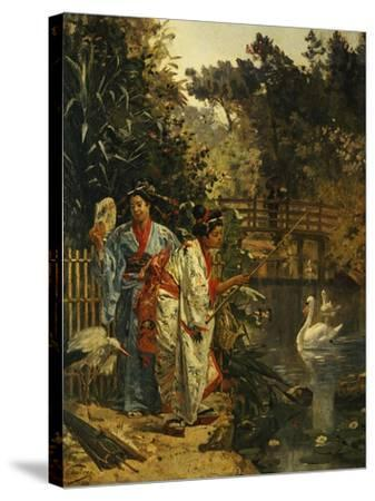 In a Japanese Garden-Edouard Castres-Stretched Canvas Print