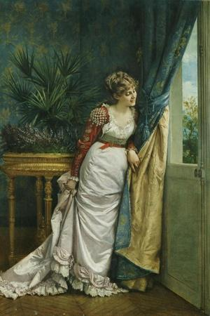 Awaiting the Visitor, 1878-Auguste Toulmouche-Stretched Canvas Print