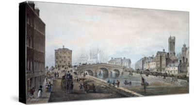 Matthew Bridge and the Customs House, with the Tower of St. Marys Cathedral, 1819-Samuel Frederick Brocas-Stretched Canvas Print