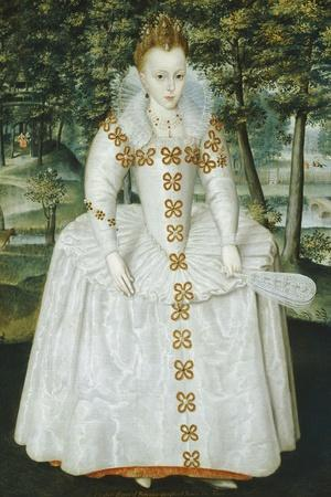 Portrait of a Lady, Traditionally Identified as Queen Elizabeth of Bohemia, Dated 1603-Robert Peake-Stretched Canvas Print