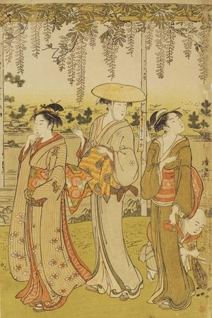 Three Women Viewing Wisteria at Kamedo-Torii Kiyonaga-Stretched Canvas Print
