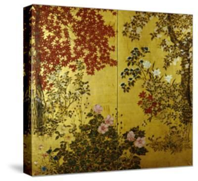 Camellias, Hydrangeas, Cherry Flowers, Lilies and Other Flowers, 18th Century--Stretched Canvas Print