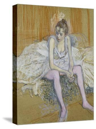 A Seated Dancer with Pink Stockings, 1890-Henri de Toulouse-Lautrec-Stretched Canvas Print