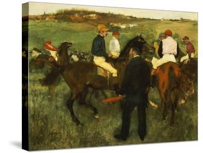 Racehorses (Leaving the Weighing), circa 1874-78-Edgar Degas-Stretched Canvas Print