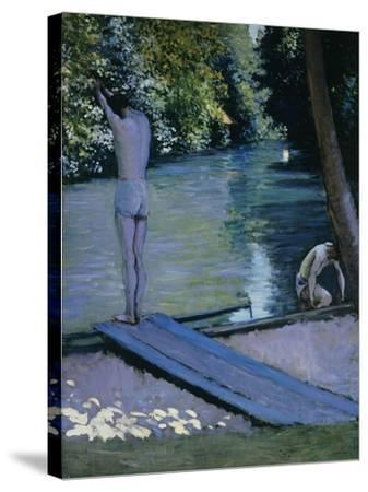 Bather About to Plunge Into the River Lyrres-Gustave Caillebotte-Stretched Canvas Print