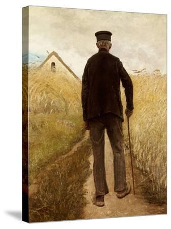 Old Man Walking in a Rye Field-Laurits Andersen Ring-Stretched Canvas Print