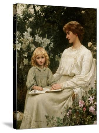 Portrait of a Mother and a Daughter Reading a Book-Edwin Harris-Stretched Canvas Print