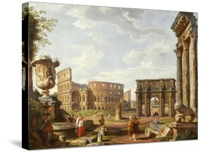 A Capriccio View of Rome with the Colosseum, the Arch of Constantine, 1743-Giovanni Paolo Pannini-Stretched Canvas Print