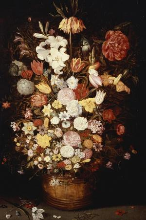 A Crown Imperial, a Peony and Other Flowers in a Wooden Tub with Butterflies and Beetles-Jan Brueghel the Elder-Stretched Canvas Print