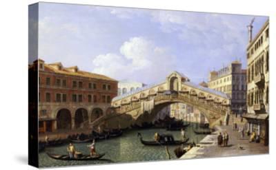 The Rialto Bridge Venice from the South with the Fondamenta Del Vin and the Fondaco Dei Tedeschi-Canaletto-Stretched Canvas Print