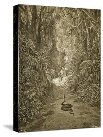 Satan As a Serpent Enters Paradise-Gustave Dor?-Stretched Canvas Print