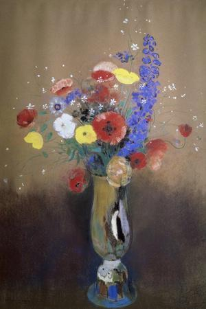 Vase of Flowers from a Field-Odilon Redon-Stretched Canvas Print
