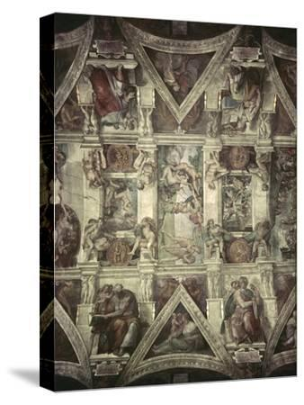 Sacrifice of Noah, Expulsion, Creation of Eve-Michelangelo Buonarroti-Stretched Canvas Print