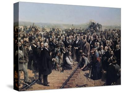 The Last Spike May 10 1869-Thomas Hill-Stretched Canvas Print