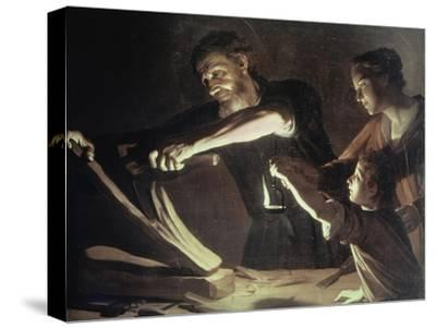 Holy Family in the Carpentery Shop-Gerrit van Honthorst-Stretched Canvas Print