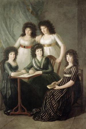 6th Contessa of Montijo and Her Four Daughters-Francisco de Goya-Stretched Canvas Print