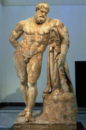 The Farnese Hercules, Roman Copy after a Greek Original by Lisippus, 3rd Century--Stretched Canvas Print