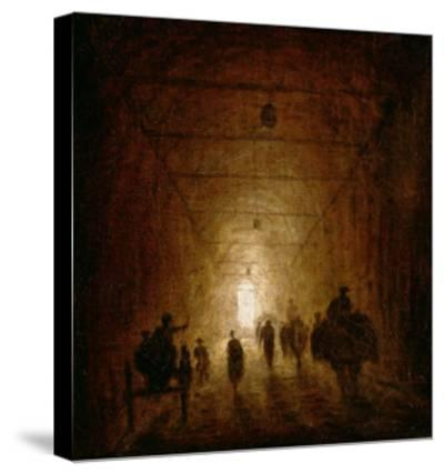 Riders and Pedestrians Passing Through an Arched Passage-Hubert Robert-Stretched Canvas Print