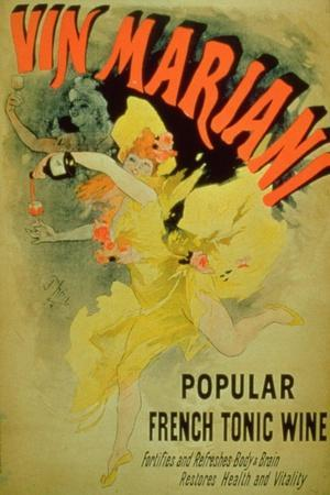 """Poster Advertising """"Mariani Wine, Popular French Tonic Wine""""-Jules Ch?ret-Stretched Canvas Print"""