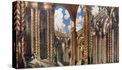 Scenery Design for the Betrothal, from Sleeping Beauty, 1921-Leon Bakst-Stretched Canvas Print