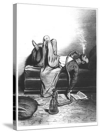 Caricature of the Romantic Writer Searching His Inspiration in the Haschisch, circa 1849--Stretched Canvas Print