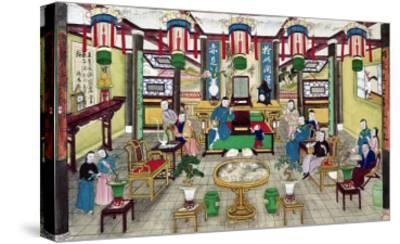 A Room in the House of Mr. Kong, a Peking Merchant-Chinese School-Stretched Canvas Print