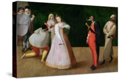 The Compagnia Dei Comici Gelosi with Isabella Andreini Depicted Giving a Performance in Paris-Hieronymus Francken-Stretched Canvas Print