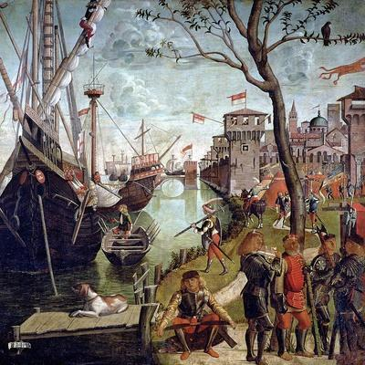 Arrival of St.Ursula During the Siege of Cologne, from the St. Ursula Cycle, 1498-Vittore Carpaccio-Stretched Canvas Print