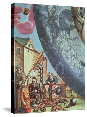 Astronomers Looking Through a Telescope, Detail from a Map of the Constellations-Andreas Cellarius-Stretched Canvas Print