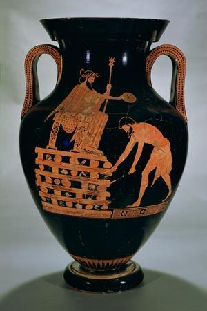 Attic Red-Figure Belly Amphora Depicting Croesus on His Pyre, from Vulci, circa 500-490 BC- Myson-Stretched Canvas Print