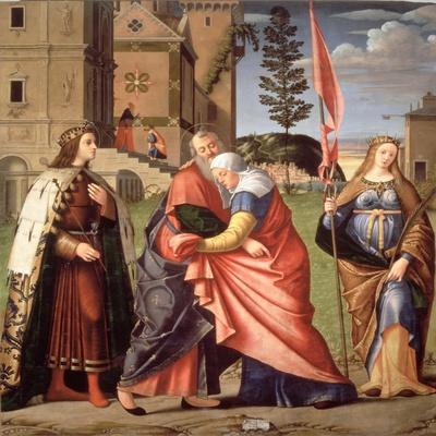 The Meeting at the Golden Gate with Saints, 1515-Vittore Carpaccio-Stretched Canvas Print
