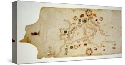 Miniature Nautical Map of the Central Mediterranean, 1560-Matteo Prunes-Stretched Canvas Print