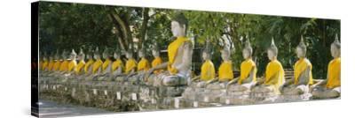 Statues of Buddha in a Temple, Wat Yai Chai Ya Mongkhon, Ayuthaya, Thailand--Stretched Canvas Print