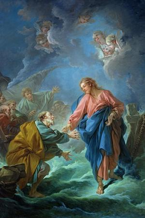 St. Peter Invited to Walk on the Water, 1766-Francois Boucher-Stretched Canvas Print
