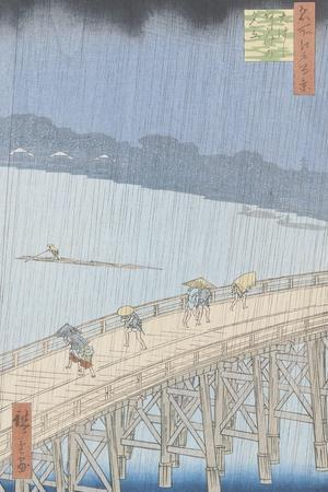 """Sudden Shower on Ohashi Bridge at Ataka, from the Series """"100 Views of Edo"""", 1857-Ando Hiroshige-Stretched Canvas Print"""