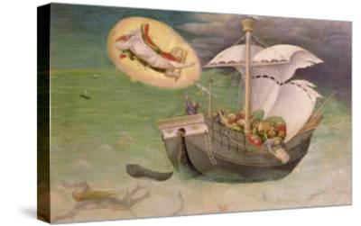 St. Nicholas Saves a Ship from Wreckage, Predella Panel from the Quaratesi Altarpiece, 1425-Gentile Da Fabriano-Stretched Canvas Print
