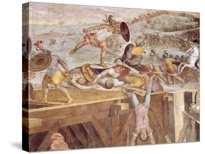 Horatius Cocles on the Sublician Bridge-Tommaso Laureti-Stretched Canvas Print