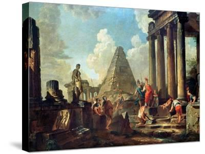 Alexander III the Great Before the Tomb of Achilles-Giovanni Paolo Pannini-Stretched Canvas Print