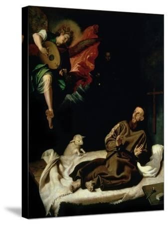 St. Francis Comforted by an Angel Musician-Francisco Ribalta-Stretched Canvas Print