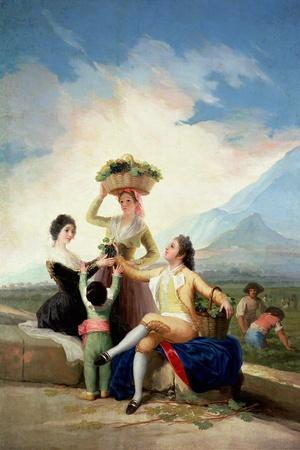 Autumn, or the Grape Harvest, 1786-87-Francisco de Goya-Stretched Canvas Print