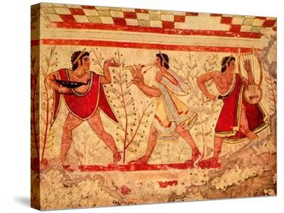 Etruscan Musicians, Copy of a 5th Century BC Fresco in the Tomb of the Leopard at Tarquinia--Stretched Canvas Print