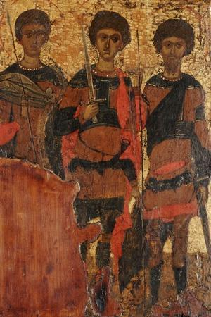 Small Byzantine Icon of Three Warrior Saints Depicting Saints George, Dimitri and Theodore c. 1400--Stretched Canvas Print