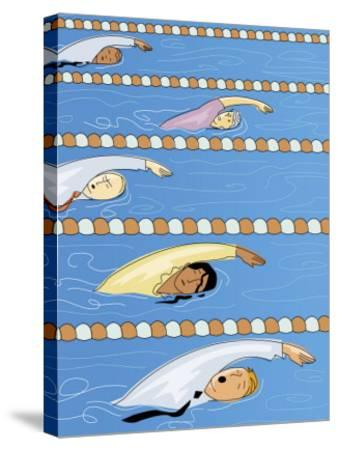 Businesspeople Swimming in Competition--Stretched Canvas Print