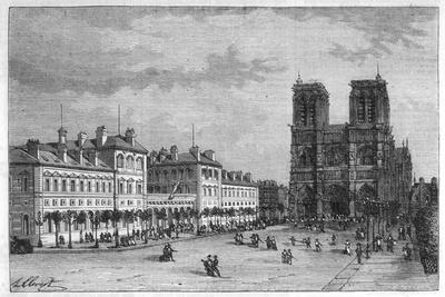 Hotel-Dieu Paris Ground-Level View of the Parvis De Notre-Dame with the Hospital on the Left-Hubert Clerget-Stretched Canvas Print