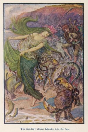 Sea-Lady Surrounded by Sea Creatures and a Young Man Playing Bagpipes-Henry Justice Ford-Stretched Canvas Print