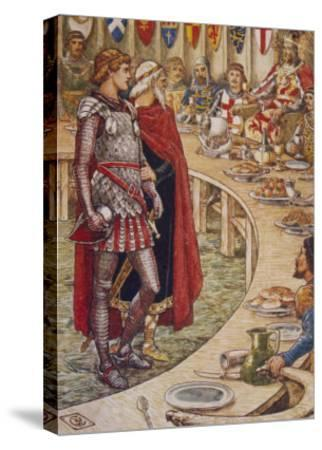 Sir Galahad is Introduced to the Round Table-Walter Crane-Stretched Canvas Print